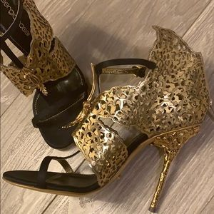 Sergio Rossi Gold Butterfly Caged Sandals 36.5
